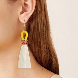 Boucle d'oreilles pendantes en fil de macramé