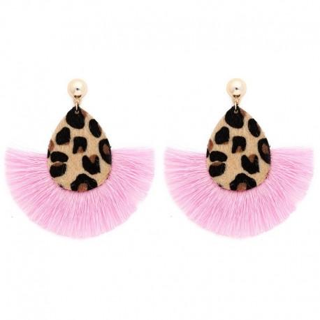 Boucle d'oreilles léopard et macramé