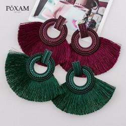 Boucles d'oreilles éventail en fil de soie