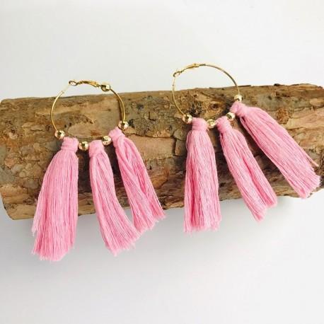 Créoles perles et fils de macramé