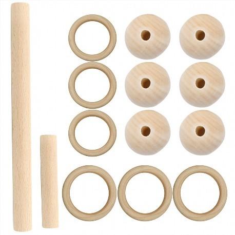 Kit de macramé anneaux perles et bâton en bois