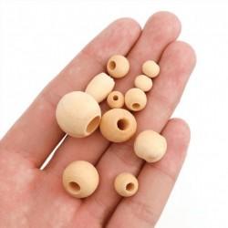 Lots de perles en bois naturel